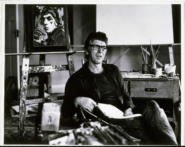 Alan Pearson - The artist's studio with self portrait