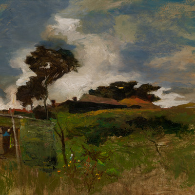 Petrus van der Velden House on the Heath c.1887. Oil on hardboard. Collection of Christchurch Art Gallery Te Puna o Waiwhetū, purchased 1968