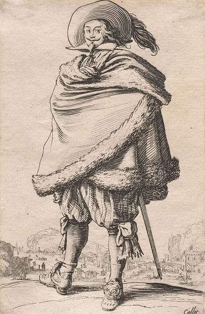 Le Gentilhomme Enroulé dans son Manteau Bordé de Fourrures (The Gentleman Wrapped in a Fur-trimmed Mantle), from La Noblesse de Lorraine (The Nobility of Lorraine)