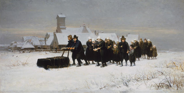 Petrus van der Velden Burial in the winter on the island of Marken [The Dutch Funeral] 1875. Oil on canvas. Collection of Christchurch Art Gallery Te Puna o Waiwhetu, gift of Henry Charles Drury van Asch, 1932