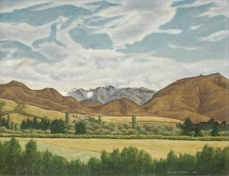 Douglas MacDiarmid Hills From Annat, February 1946. Oil on board. COllection of Christchurch Art Gallery Te Puna o Waiwhetū, N. Barrett Bequest Collection, purchased 2010. Reproduced courtesy of the artist