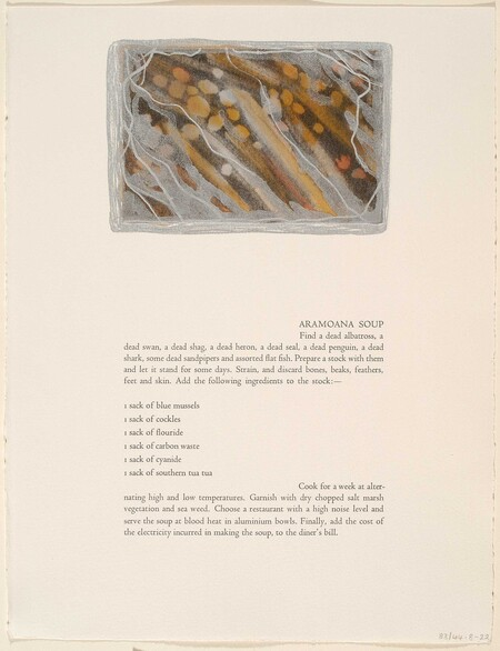 Marilynn Webb Aramoana Soup 1982. Monotype. Collection of Christchurch Art Gallery Te Puna o Waiwhetū, purchased 1983