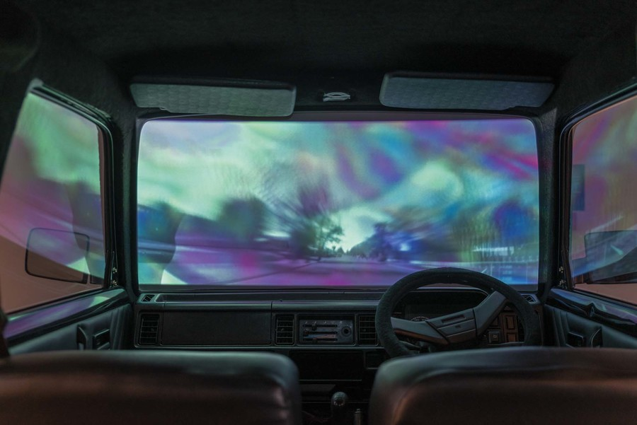 Terri Te Tau Te Āhua o te Hau ki te Papaioea 2015. Suzuki Carry van with projection and sound. Music composed by Rob Thorne. Courtesy of the artist. Photo: John Lake