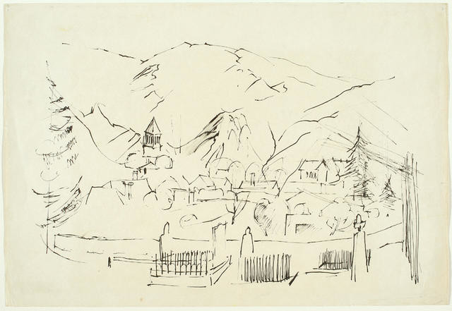 Sketch of Landscape With Village & Mountains
