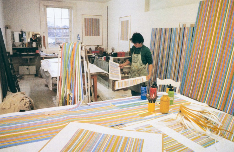 Bridget Riley working in her London studio c.1980. Photo: Bill Warhurst