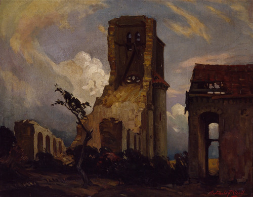 Archibald Nicoll Becordel AD 1916 1930. Oil on canvas board. Collection of Christchurch Art Gallery. Purchased 1996. Gunner Archibald Nicoll painted this picture of the ruins of Becordel, a village near Albert, France, which the New Zealand Division passed through on its way to the front in 1916.