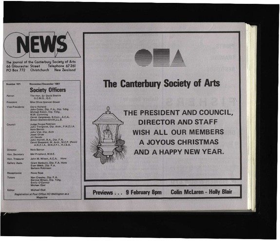 Canterbury Society of Arts News, number 101, November/December [1981]