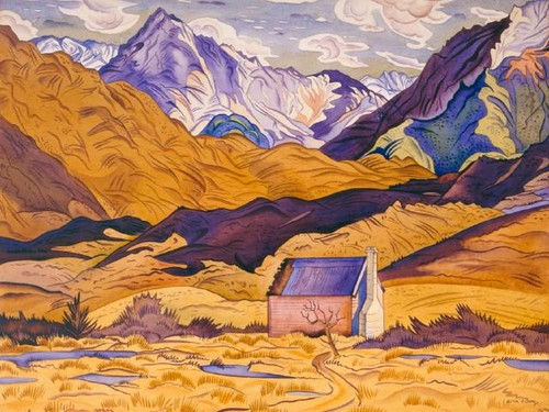 Rita Angus Mountains Cass 1936. watercolour. Presented by Robert Erwin in 1985 in memory of Lawrence Baigent.