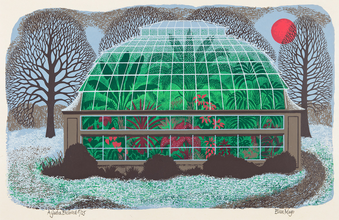 Eileen Mayo A Garden Enclosed 1980. Screenprint. Collection of Christchurch Art Gallery Te Puna o Waiwhetū, purchased 2005