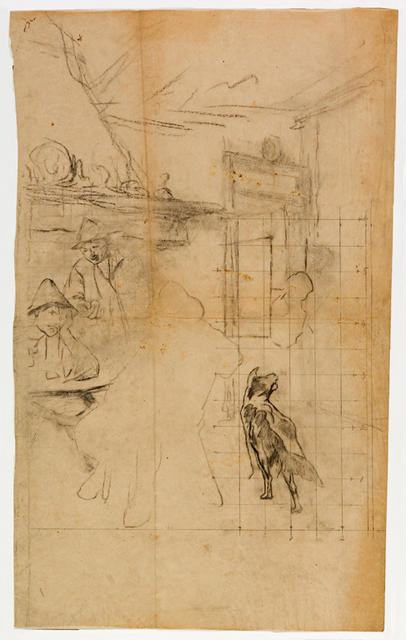Interior: figures and dog