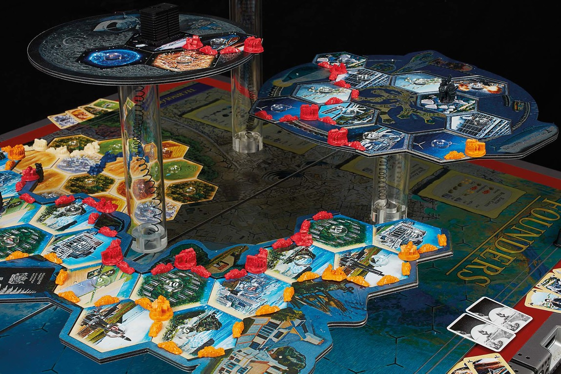 Simon Denny Founders Board Game Display Prototype / Founders Rules (detail) 2017. Customised Settlers of Catan game pieces, 3D print, UV print on Butler Finish Aluminium Dibond, UV print on card, LEDs, moulded electronic wiring, Dell PowerEdge 1950 server casing, Linoleum, MDF, powder coated steel, Pexiglas / UV prints on canvas. Auckland Art Gallery Toi o Tāmaki, purchased 2018