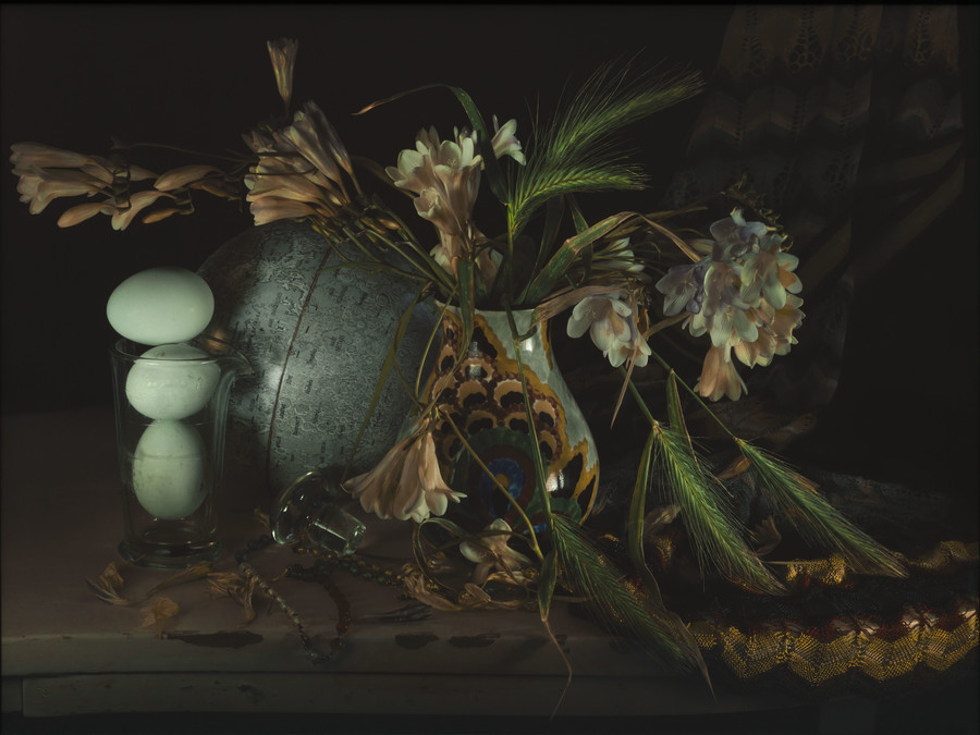 Fiona Pardington Still Life with Barley Grass and Freesia, Waiheke 2011–12. Epson hot press natural 320gsm colour photograph. Collection of Christchurch Art Gallery Te Puna o Waiwhetū, gift of Sheelagh Thompson marking her 86th birthday and honouring director Jenny Harper's dedication to Christchurch Art Gallery during the five years of its closure after the 2010-11 Canterbury earthquakes.
