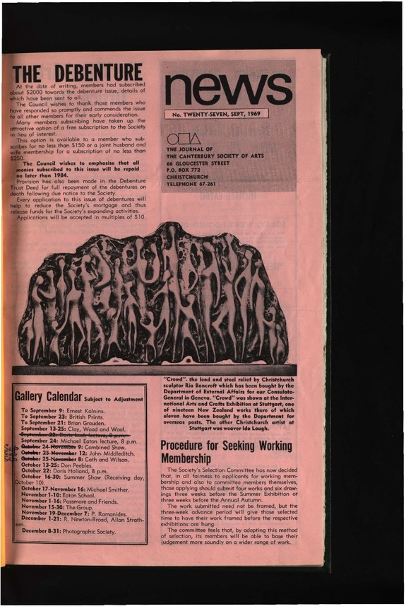 Canterbury Society of Arts News, number 27, September 1969