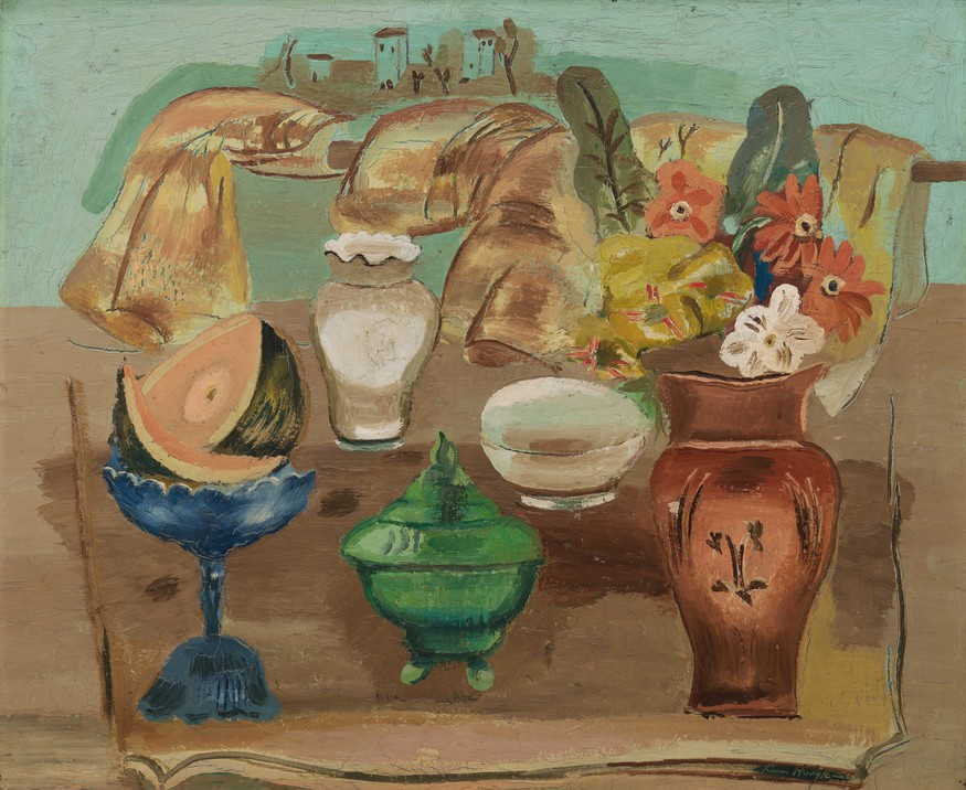 Frances Hodgkins Still Life c. 1932. Oil on wood panel. Collection of Christchurch Art Gallery Te Puna o Waiwhetū, purchased 1979