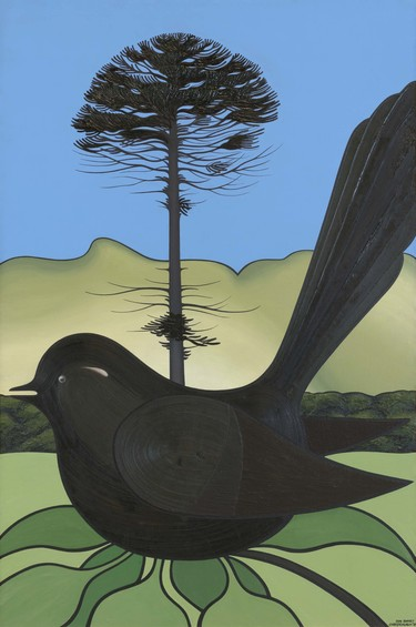 Don Binney Canterbury Garden Bird 1970. Oil on canvas. Collection of Christchurch Art Gallery Te Puna o Waiwhetū, purchased 1970