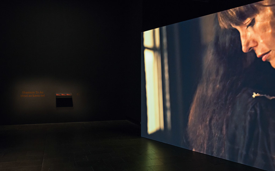 Shannon Te Ao Untitled (malady) (installation view) 2016. HD video, single-channel, 13:16min, colour. Courtesy of the artist and Robert Heald Gallery, Wellington