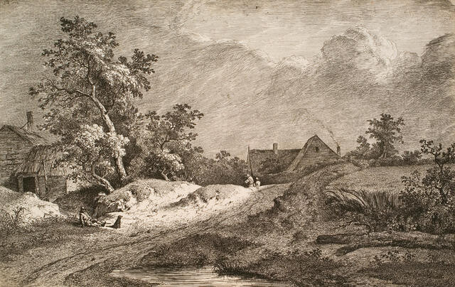 Man reclining with dog in landscape with cottage, 1772
