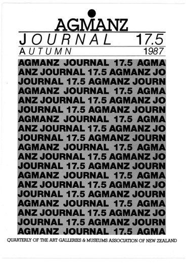 AGMANZ Journal Volume 17 Number 5 [i.e. Vol 18 No 1] Autumn 1987