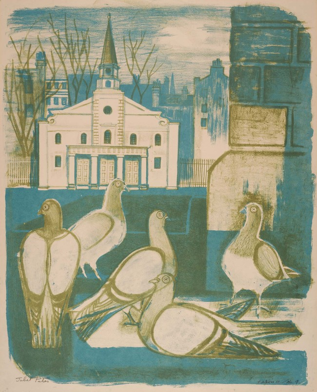 Juliet Peter London Pigeons 1954. Lithograph. Collection of Christchurch Art Gallery Te Puna o Waiwhetū