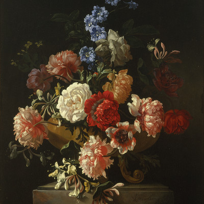 Jan Frans van Son Roses, honeysuckle and other flowers in a sculpted vase c. 1685. Oil on canvas. Collection of Christchurch Art Gallery Te Puna o Waiwhetu. Purchased with assistance from the National Art Collections Fund of Great Britain 1973