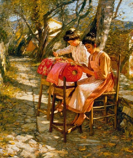 Henry H. La Thangue, Making Ligurian Lace Purchased by the Cantetrbury Society of Arts, 1912 with the JJ Peacock bequest; presented to the city, 1931Oil on canvas, 69/354Circa 1905