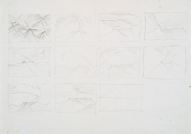 Sheet Of Studies For: 'Te Tihi O Kahukura And Sky' Series