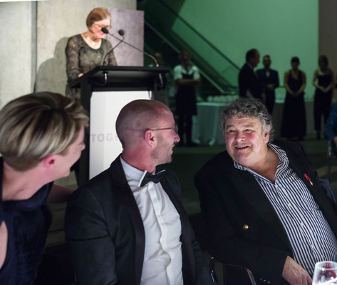 Grumps (right) enjoying the illumination of his gift to Christchurch, the Martin Creed work EIGTBA, on Saturday night at Christchurch Art Gallery's Foundation dinner.