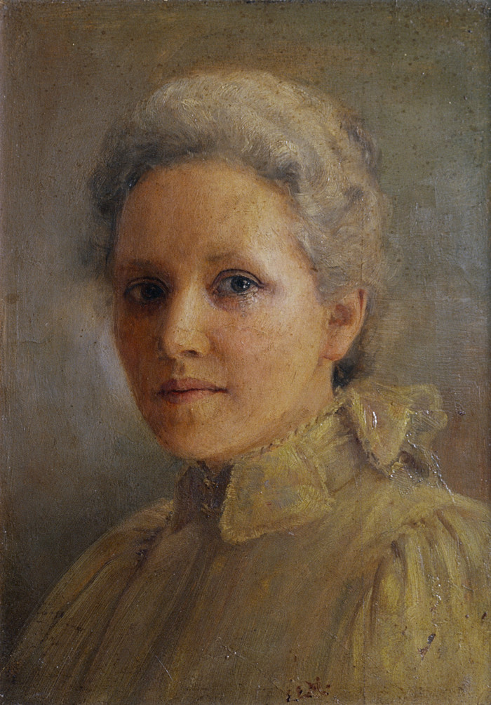 Edith Munnings Self-Portrait c.1907. Oil on wood panel. Collection of Christchurch Art Gallery Te Puna o Waiwhetū, presented by G.E. Munnings and C. Munnings Christchurch, 1970