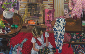 Jacqueline Fahey Sisters Communing 1974. Oil on board. Hocken Collections, Uare Taoka o Hākena, University of Otago