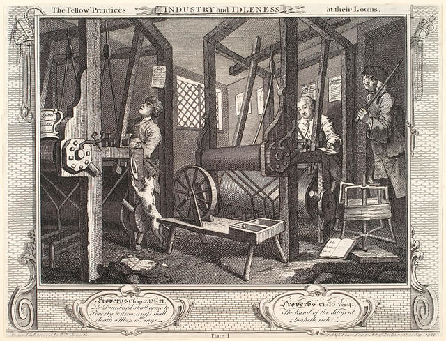 Industry And Idleness The Fellow 'Prentices At Their Looms (Plate I)