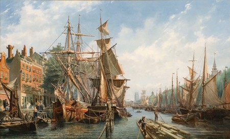 Petrus van der Velden The Leuvehaven, Rotterdam 1867. Oil on canvas. Collection of Christchurch Art Gallery Te Puna o Waiwhetū, purchased with assistance from Gabrielle Tasman in memory of Adriaan, and the Olive Stirrat bequest. Purchase supported by Christchurch City Council's Challenge Grant to Christchurch Art Gallery Trust, 2010