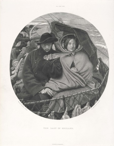Herbert Bourne (after Ford Madox Brown) The Last of England 1852–5. Engraving. Collection of Christchurch Art Gallery Te Puna o Waiwhetu
