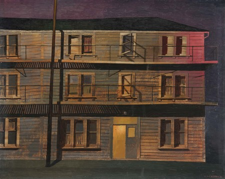 W.A. Sutton Private lodgings 1954. Oil on canvas on board. Collection of Christchurch Art Gallery Te Puna o Waiwhetū, purchased 1959