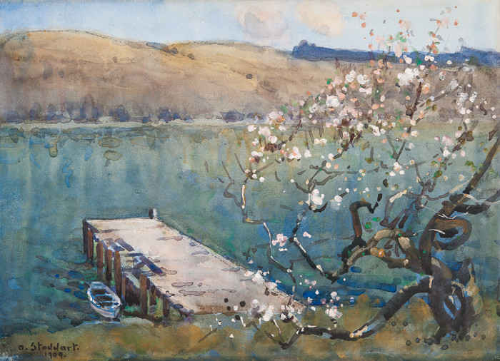 Margaret Stoddart Diamond Harbour 1909. Watercolour. Christchurch Art Gallery Trust Collection