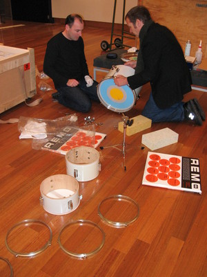 Julian and Peter installing Untitled (The Warriors) in 2007.