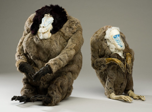 Francis Upritchard Husband and Wife Rabbit fur, tanned goat skin, modelling materialsCollection Christchurch Art Gallery Te Puna o Waiwhetū; purchased 2008Reproduced courtesy of Kate Macgarry and the artist