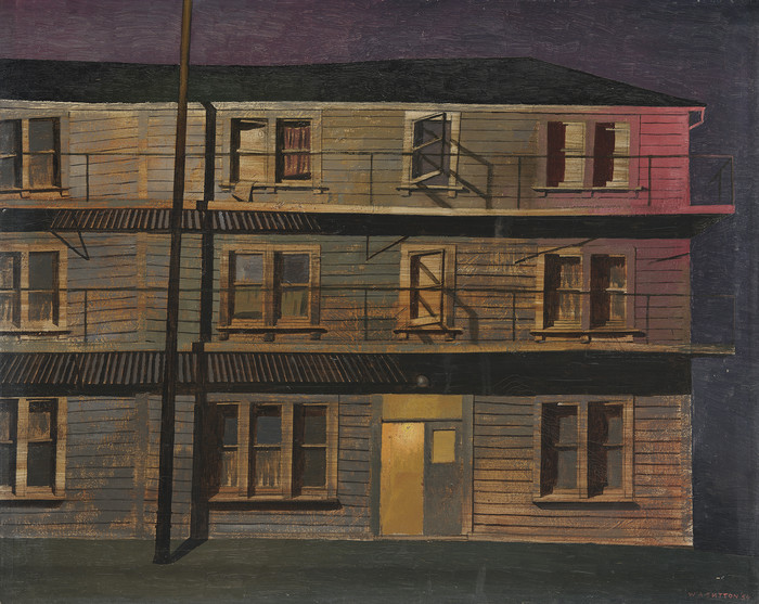 William Alexander Sutton Private Lodgings 1954. Oil on canvas on board. Collection of Christchurch Art Gallery Te Puna o Waiwhetū 1959