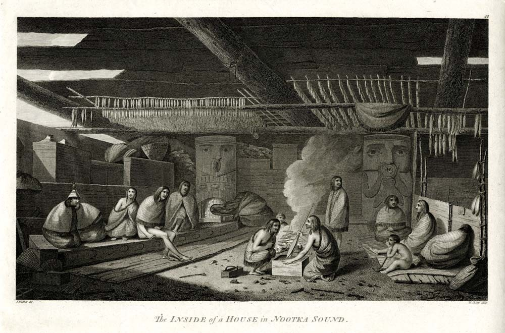 William Sharp, after John Webber The interior of a house in Nootka Sound 1784. Engraving. British Museum