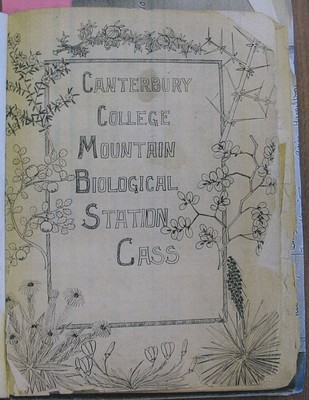 Cover of the Canterbury College Mountain Biological Station, Cass visitors book.