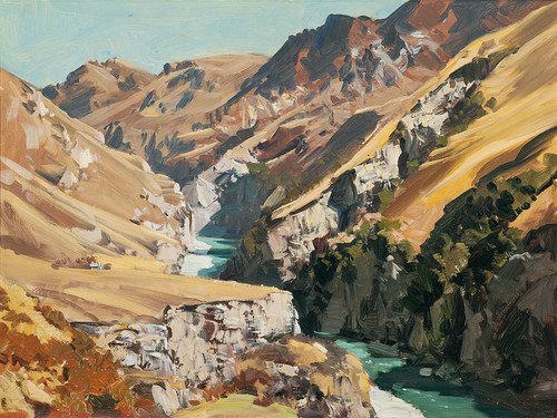 Douglas Badcock Skipper's Canyon, Shotover River. Collection of Christchurch Art Gallery Te Puna o Waiwhetū, gift of J.L. Hay Charitable Trust 1962