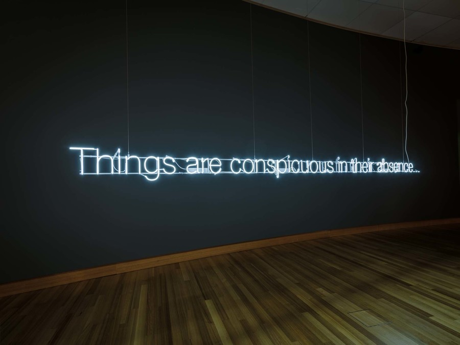 Cerith Wyn Evans Things are conspicuous in their absence... 2012. Neon. Acquired by Christchurch Art Gallery Foundation 2018 to mark the contribution of Jenny Harper on her retirement as director of Christchurch Art Gallery Te Puna o Waiwhetū. Purchase supported by Ros and Philip Burdon, the Philip Carter Family, Rob and Sue Gardiner and the Chartwell Trust, Dame Jenny Gibbs, June Goldstein, Sonja and Glenn Hawkins, Julianne Liebeck, Stephen and Charlotte Montgomery, Jenny and Andrew Smith, Mike and Sue Stenhouse, Gabrielle Tasman, two anonymous donors, and a collective gift from the staff of Christchurch Art Gallery and Brown Bread.