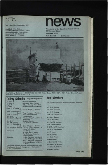 Canterbury Society of Arts News, number 39, September 1971
