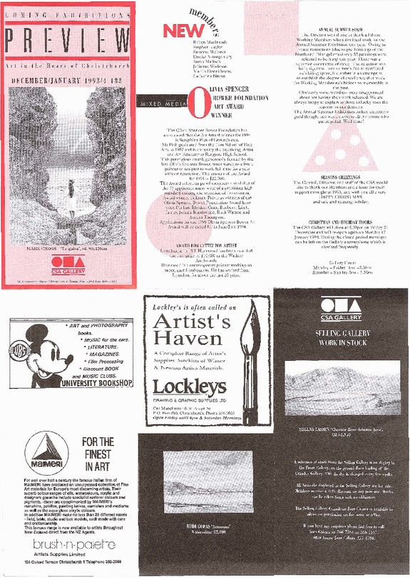 Canterbury Society of Arts Preview, number 183, December 1993