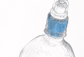 Kristin Hollis Survival Kit: Water Bottle (detail) 2011. Digital prints from graphite and watercolour on paper originals. Courtesy of the artist and PaperGraphica