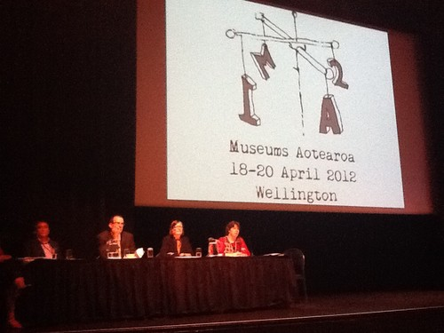 Director Jenny Harper on stage at the Museums Aotearoa conference