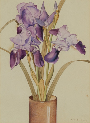 Rita Angus (1908-1970) Irises 1942. Watercolour. Collection Christchurch Art Gallery Te Puna o Waiwhetū; Lawrence Baigent / Robert Erwin bequest, 2003Reproduced courtesy of the Rita Angus estate
