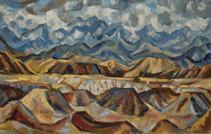 Doris Lusk Summer Storm near Wanaka 1962. Oil on canvas board. Collection of Christchurch Art Gallery Te Puna o Waiwhetū, transferred from the Christchurch Town Hall, 2010