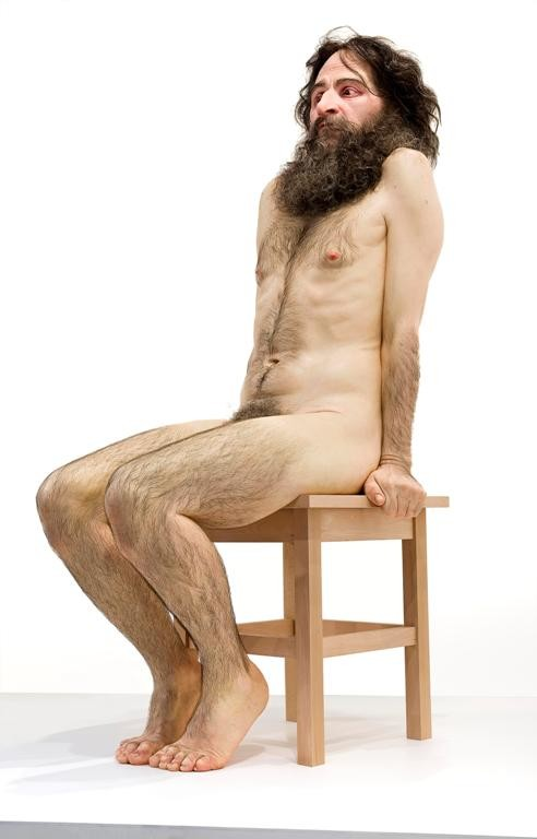 Ron Mueck Wild man 2005. Polyester resin, fibreglass, silicone, aluminium, wood, horse hair, synthetic hair, ed. 1/1. McClelland Gallery + Sculpture Park, Langwarrin, purchased by the Elisabeth Murdoch Sculpture Foundation and The Balnaves Foundation 2008. © Ron Mueck courtesy Anthony d'Offay, London. Photo: Mark Ashkanasy