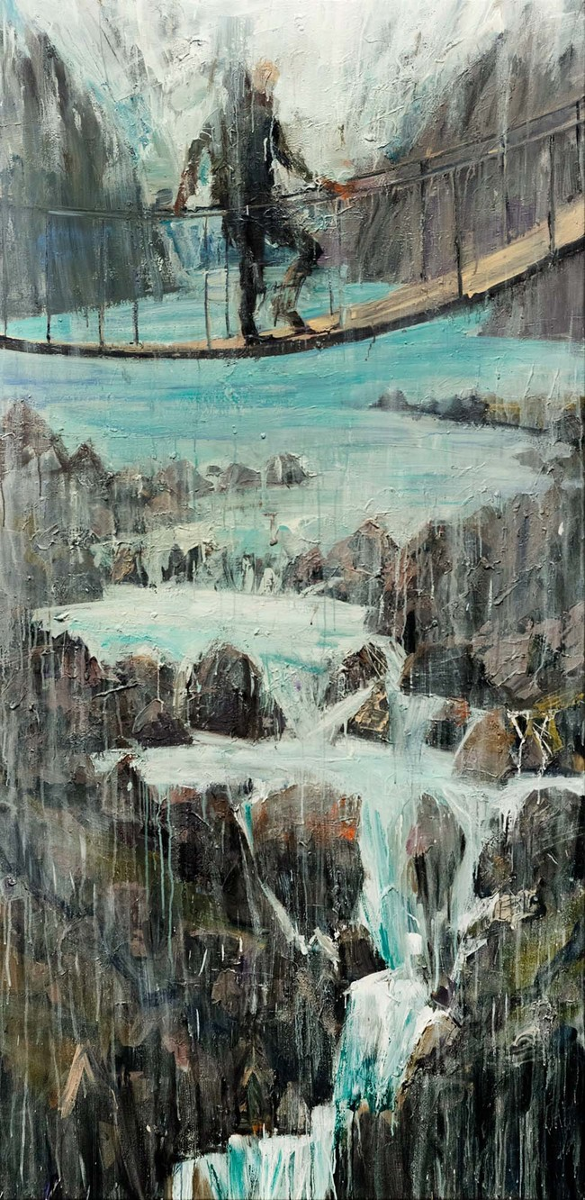 Euan Macleod Swingbridge 2018. Acrylic on canvas