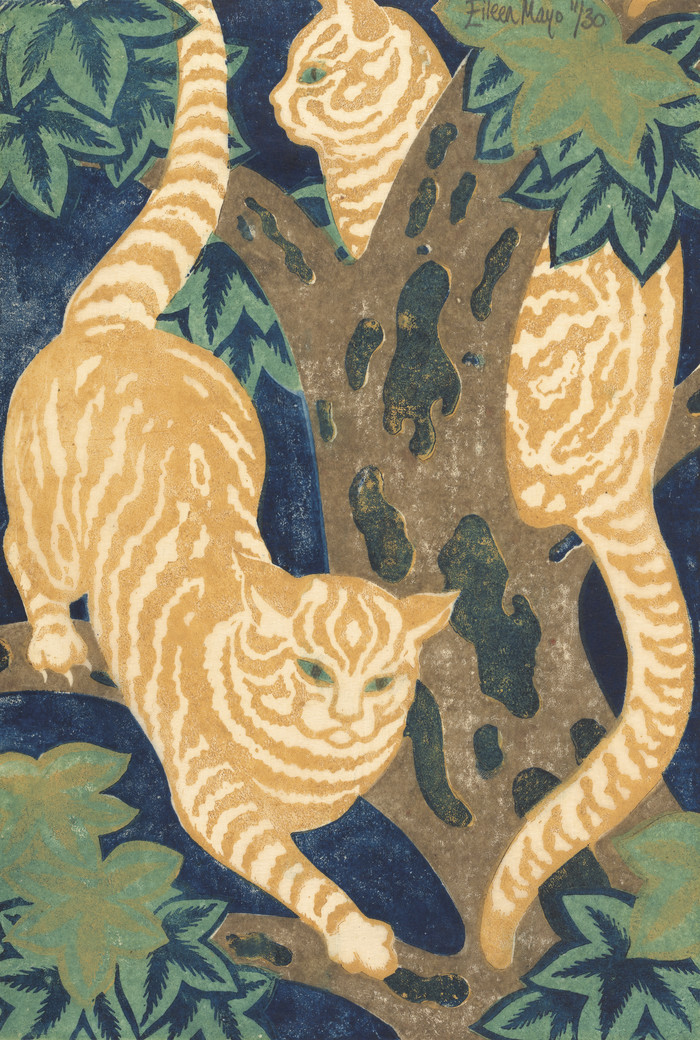 Eileen Mayo Cats in the Trees 1931. Linocut. Collection of Christchurch Art Gallery Te Puna o Waiwhetū, presented by Rex Nan Kivell, 1953